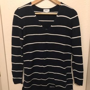 Old Navy Navy Blue and White Striped Sweater